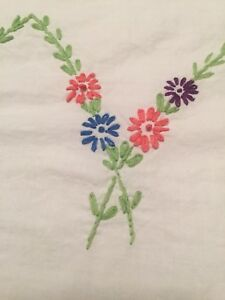 Vintage Hand Embroidered White Cotton Tablecloth Floral Posies 49 X 53