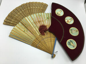 3 Vintage Japan Hand Painted Paper Bamboo Non Folding Folding Hand Held Fan