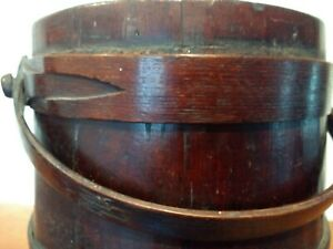 Antique 1800s New England Woodenware Firkin Pail Bucket Early Buttonhole Hoops