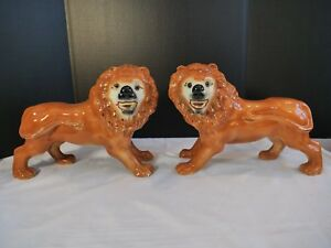 Vintage Staffordshire Style Lion Pair Glass Eyes Standing Figurines Pottery Lrge