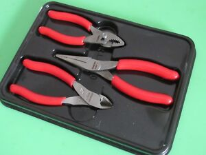 Snap On Pl305acf Red Handle Plier Cutter Set 44acf 4 1 2 85acf 5 95acf 6