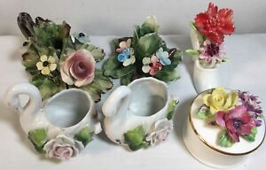 6 Tiny Vtg Porcelain Swan Box Shoe Flow With Capodimonte Style 3d Flowers