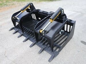 Kubota Skid Steer Attachment 72 Rock Bucket Grapple With Teeth Ship 149