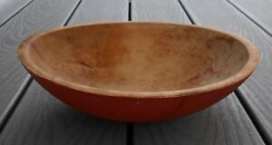 Old Vintage Primitive Out Of Round Wood Bowl With Red Paint Farmhouse Kitchen