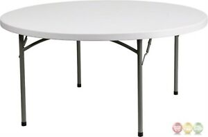 60 Round Granite White Plastic Folding Table