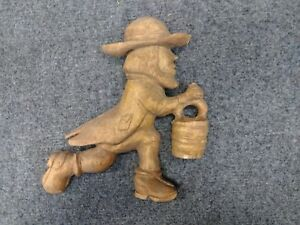 Vintage Folk Art Chip Carved Fire Brigade Pilgrim Man Running W Bucket 8 5