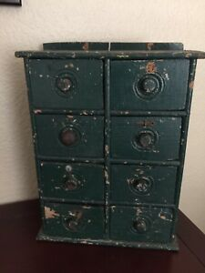 Antique Dark Windsor Green Spice Chest Cabinet Apothecary
