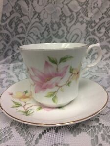 Vintage Springfield England Bone China Tea Cup And Saucer Pink Yellow Floral