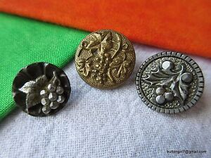 5216 Three 1800 S Grapes Motif Metal Buttons Pewter Brass Steel