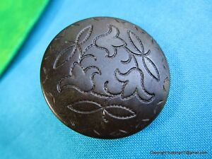 5548 Pretty Celluloid Floral Etched Tight Top Antique Button