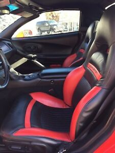 97 04 Corvette C5 Front Leather Sport Seats Black And Red Custom Nice