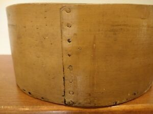 Antique 1800s Farmstead Bandbox Wooden Ware Dry Measure Old Mustard Paint Aafa