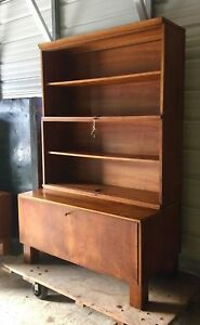 Vtg 4pc Stacking Walnut Cabinet Bookcase Antique Wood Cupboard Library Hutch Key