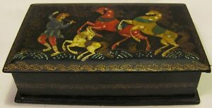 Vintage Russian Kohek Hand Painted Lacquered Wood Box 4 2 X 2 6 X 1 2 Used Vg