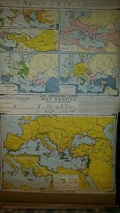 Vintage Pull Down School Map Early Later Mediterranean Cultures