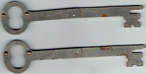 Pair Of 2 Church Or Jail Folding Key No Name 5 1 4 Long Approximately In Size
