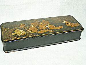 Antique Japanese Black Lacquer Glove Box W Hand Painted Gold Figures Scene