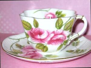 Shelley Rambler Rose Tea Cup And Saucer Dainty Shape 13671 Vintage 1960 S