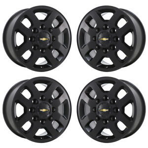 18 Chevrolet Silverado 2500 3500 Truck Black Wheels Rims Factory Oem Set 5502