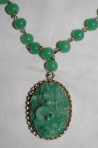 Vintage Green Jade Carved Stone Pendant 14 Beads Necklace Chinese Symbols