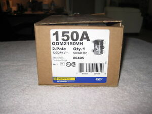 Square D Qom2150vh 150 Amp Main Circuit Breaker 2 Pole 22 Kiloampere