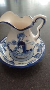 Mini Blue On On White Pottery Pitcher And Bowl