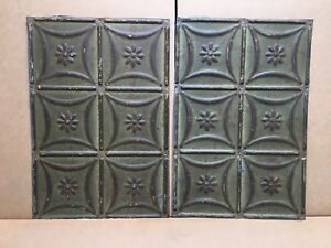 2pc Lot Of 18 By 12 Antique Ceiling Tin Vintage Reclaimed Salvage Art Craft