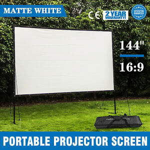 144 16 9 Home Movie Electric Projector Screen Matte White Pull Down Projector