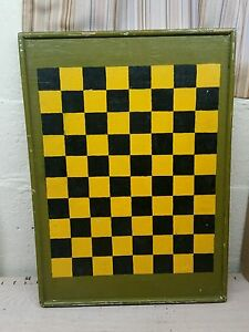 Antique Vintage Game Board Checkerboard Folk Art Primitive Quebec Canada