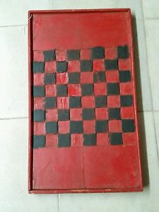 Vintage Antique Game Board Checkerboard Folk Art Primitive Quebec Canada