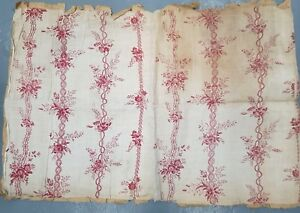 19th Century Antique French Floral Stripe Toile Look Textile Ecru And Red