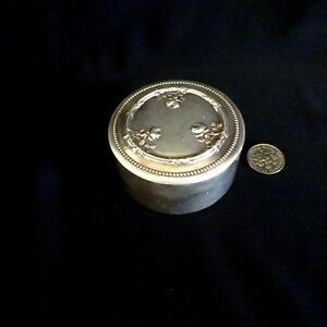 Antique Silver Ring Box Roses Jewelry Pill French Art Nouveau Vermeil Rare