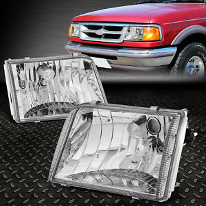 For 93 97 Ford Ranger Chrome Housing Headlight Replacement Head Lamp Headlamps