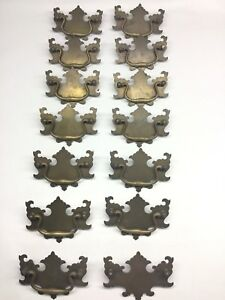 Set Of 14 Chippendale Batwing Large Brass Drawer Pulls 3 3 4 Bore
