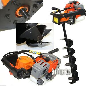Ice Auger Drill Hole Post Digger 52cc Gas Power W 8 Ice Bits Bit