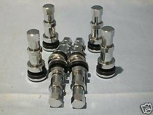 4pc Nickle Plated Brass Chrome Look Tire Valve Stems High Pressure Free Ship