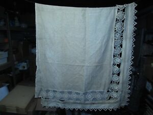 Antique Original Scroll Work Linen Lace Victorian Curtain Panel Repurpose Use 1
