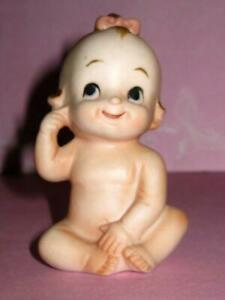Vintage Piano Baby Seated Bare Bottom Bisque Ceramic Figurine Japan Cute