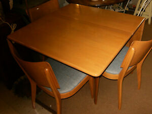 Heywood Wakefield M166 Dropleaf Dining Table Mid Century Modern Sting Ray Chairs