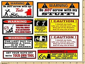 Funny Warning Stickers Complete Set Of 10 Decals Great For Toolbox Usa