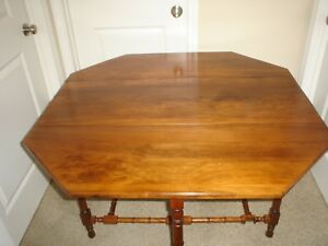 Antique Walnut Octagon Gate Leg Drop Leaf Table Very Good Condition