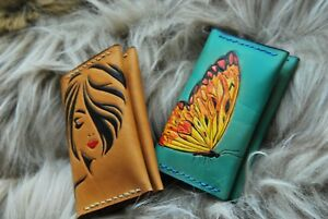 2x Card Holders cases Veg Tan Leather gifts business Card Holder gifts For Her