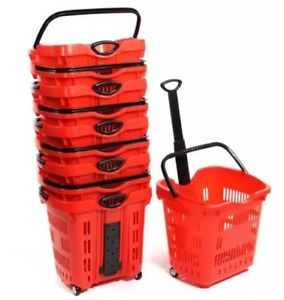 Plastic Rolling Shopping Basket Cart Lot Of 10 Market Convenience Store Red New