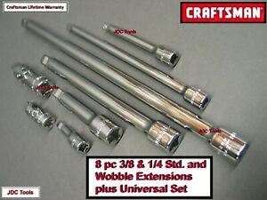 Craftsman Tools 8 Pc 1 4 3 8 Extension Bar Universal Joint Set Tool Socket