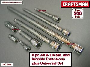 New Craftsman 8 Pc 1 4 3 8 Extension Bar Universal Joint Set Tool Socket 9
