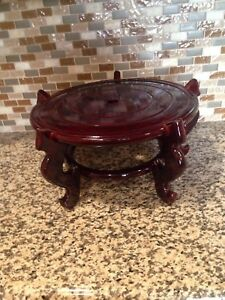 Fine Chinese Carved Wood Lacquer Altar Floor Vase Stand 14 5 Huge