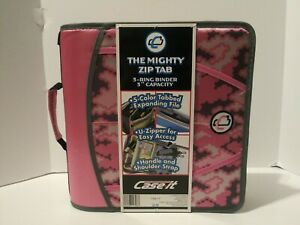 Case it Zipper Mighty Zip Tab 3 Binder 3 Ring 5 Color Expanding File New Pink