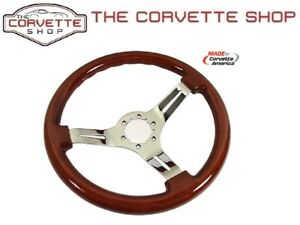 C3 Corvette Mahogany Wood Steering Wheel W 3 Chrome Spokes 1968 1982 X2544