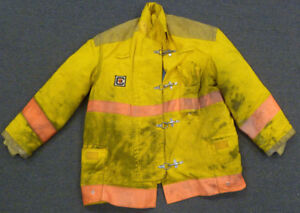 Xl Firefighter Jacket Coat Bunker Turn Out Gear Yellow Chieftain J607