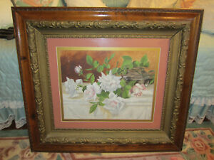 Antq Victorian Large Layered Oak Gold Gesso Picture Frame Watercolor
